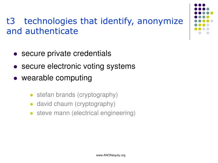t3   technologies that identify, anonymize and authenticate