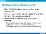 identifying training requirements