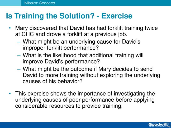 Is Training the Solution? - Exercise
