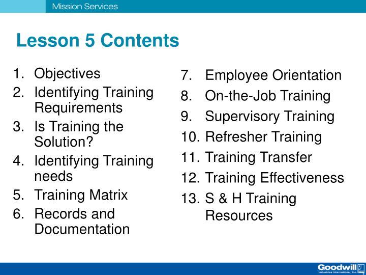 Lesson 5 Contents