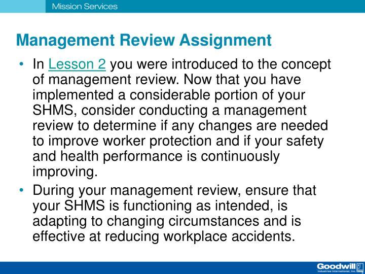 Management Review Assignment