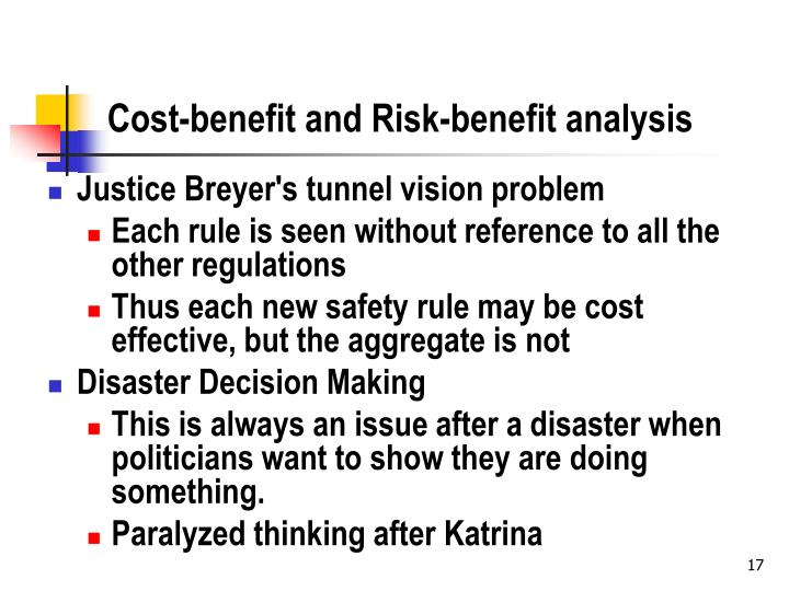 Cost-benefit and Risk-benefit analysis