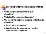 executive orders regulating rulemaking