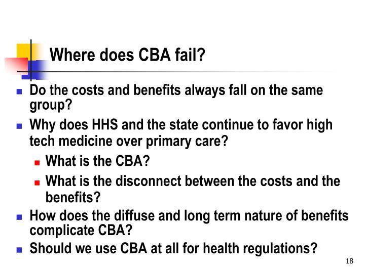 Where does CBA fail?