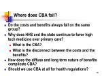 where does cba fail