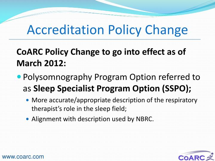 Accreditation Policy Change