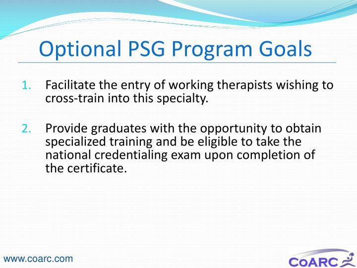 Optional PSG Program Goals