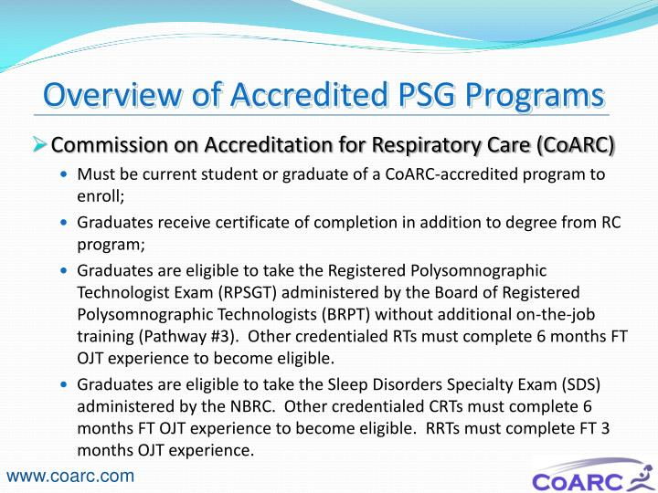 Overview of Accredited PSG Programs