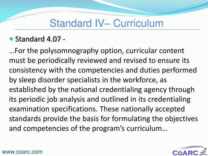 Standard IV– Curriculum