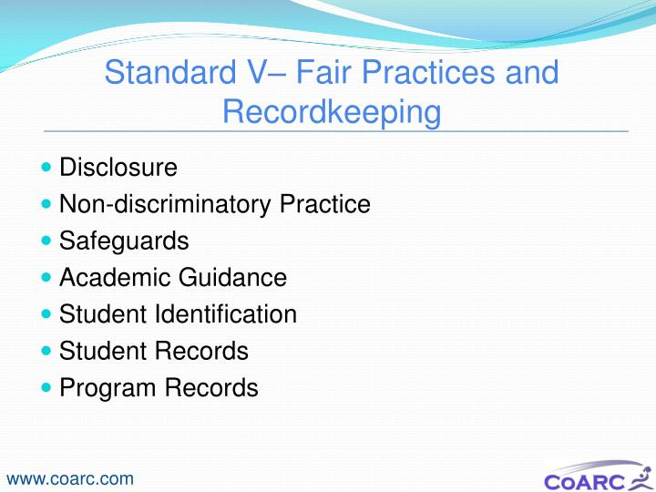 Standard V– Fair Practices and Recordkeeping