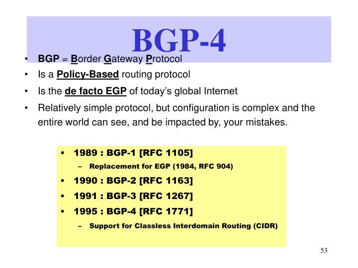 1989 : BGP-1 [RFC 1105]