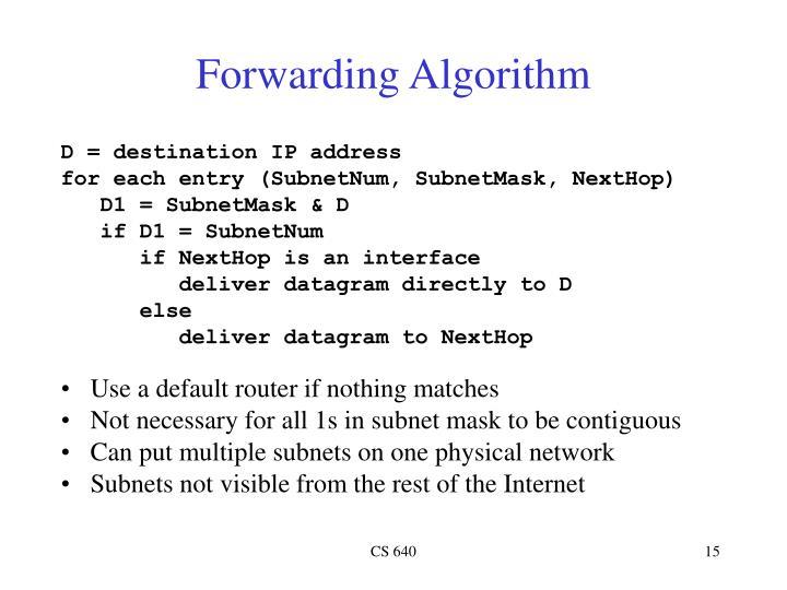 Forwarding Algorithm