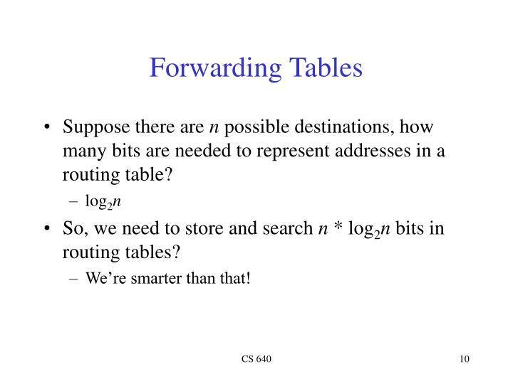 Forwarding Tables