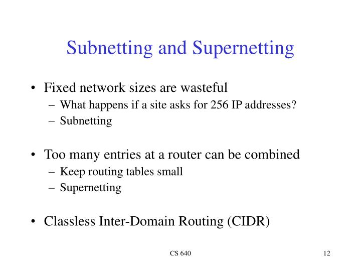 Subnetting and Supernetting