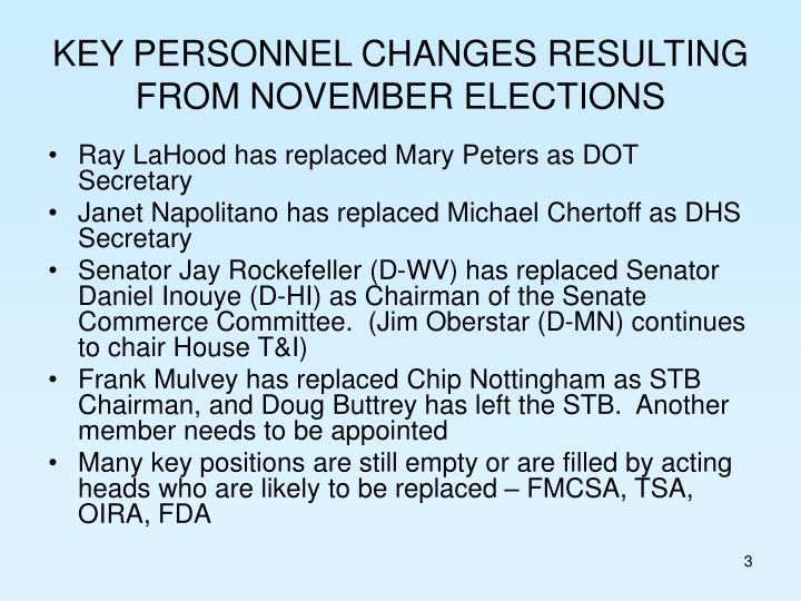 Key personnel changes resulting from november elections