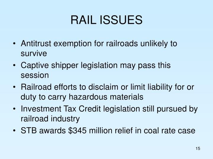 RAIL ISSUES