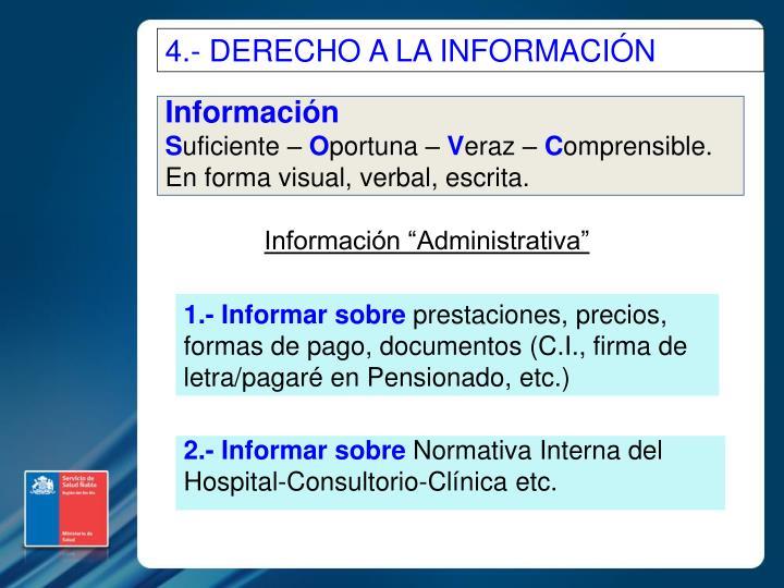 4.- DERECHO A LA INFORMACIÓN