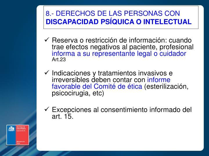 8.- DERECHOS DE LAS PERSONAS CON