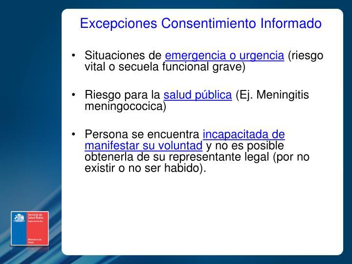 Excepciones Consentimiento Informado