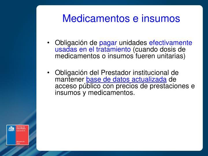 Medicamentos e insumos