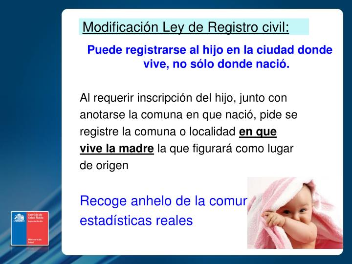 Modificación Ley de Registro civil: