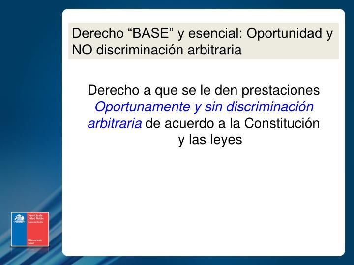 """Derecho """"BASE"""" y esencial: Oportunidad y NO discriminación arbitraria"""