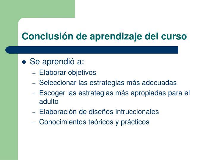 Conclusión de aprendizaje del curso