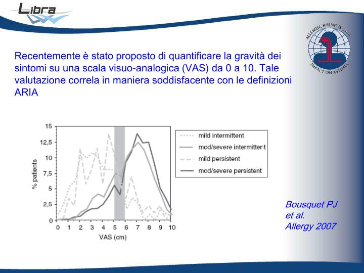 Recentemente è stato proposto di quantificare la gravità dei sintomi su una scala visuo-analogica (VAS) da 0 a 10. Tale valutazione correla in maniera soddisfacente con le definizioni ARIA
