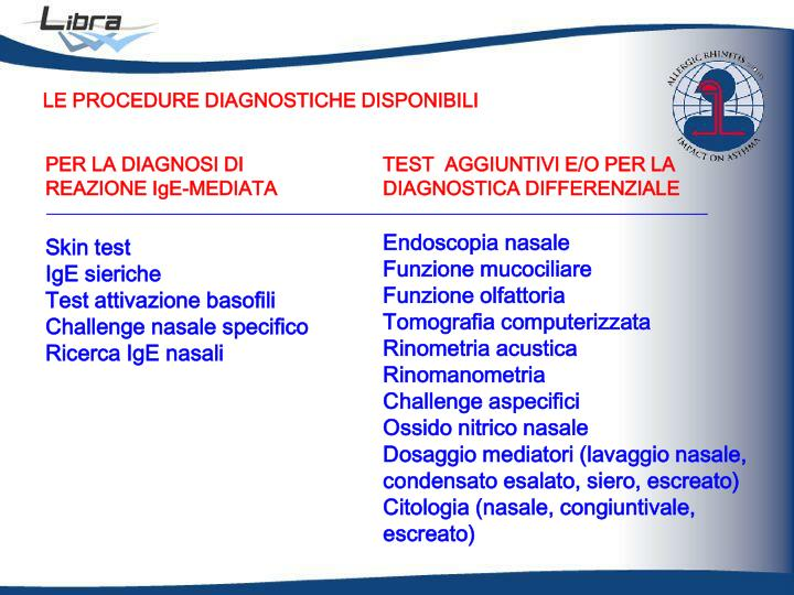 LE PROCEDURE DIAGNOSTICHE DISPONIBILI