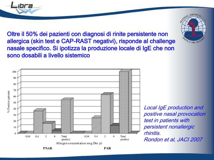 Oltre il 50% dei pazienti con diagnosi di rinite persistente non allergica (skin test e CAP-RAST negativi), risponde al challenge nasale specifico. Si ipotizza la produzione locale di IgE che non sono dosabili a livello sistemico
