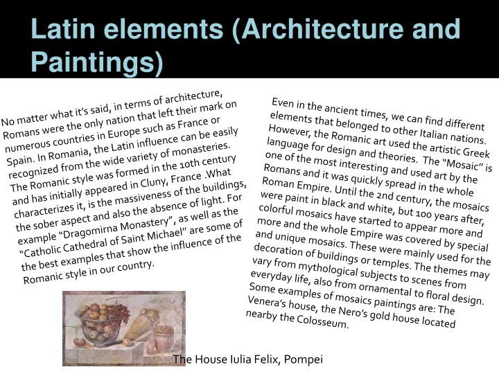 Latin elements architecture and paintings