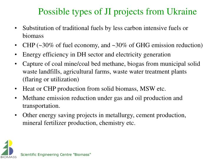 Possible types of JI projects from Ukraine