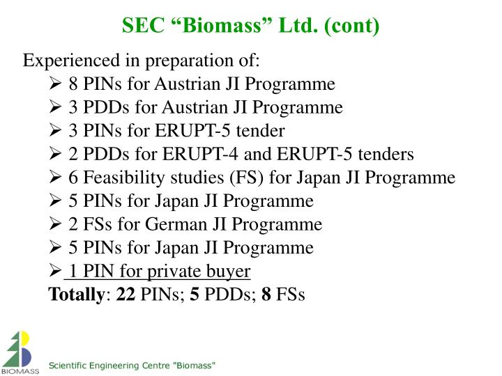 "SEC ""Biomass"" Ltd. (cont)"