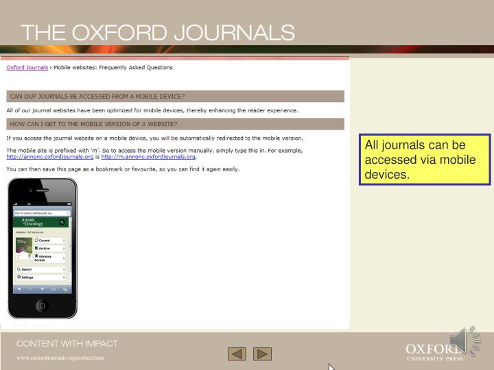 All journals can be accessed via mobile devices.