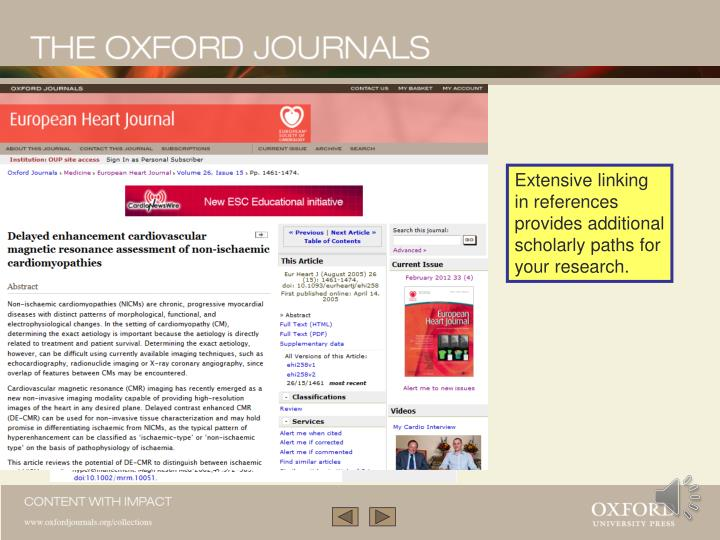 Extensive linking in references provides additional scholarly paths for your research.