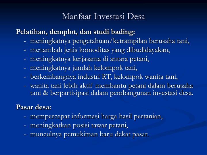 Manfaat Investasi Desa