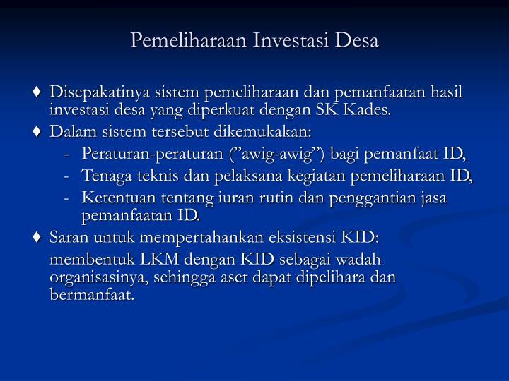 Pemeliharaan Investasi Desa