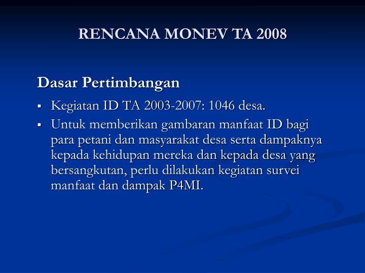 RENCANA MONEV TA 2008
