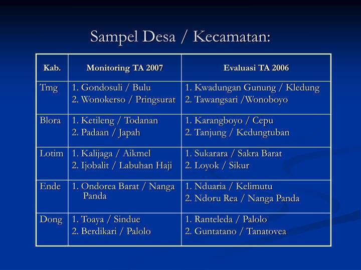 Sampel Desa / Kecamatan: