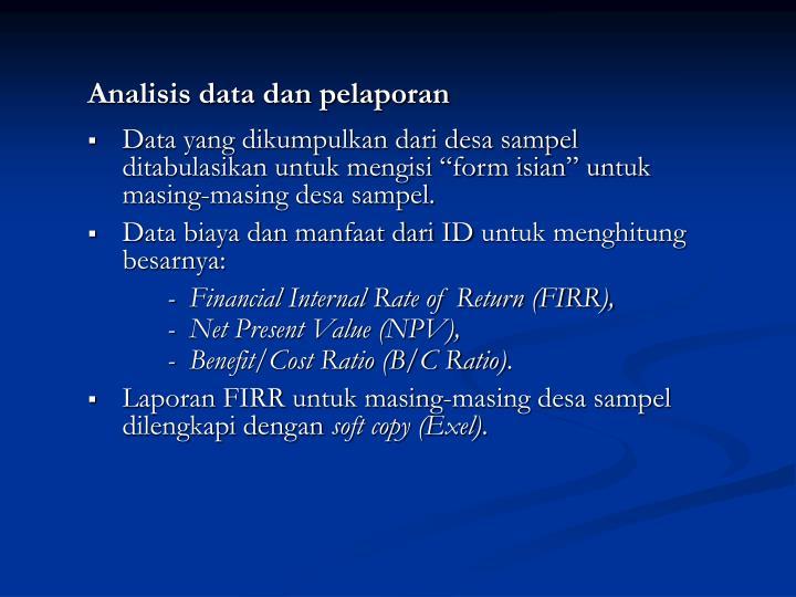 Analisis data dan pelaporan
