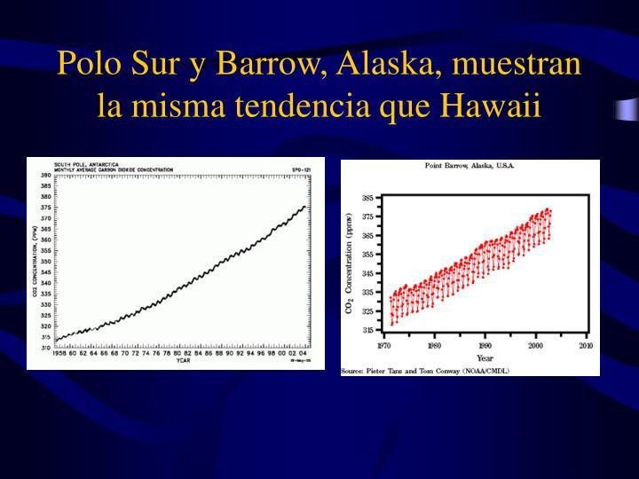 Polo Sur y Barrow, Alaska, muestran la misma tendencia que Hawaii