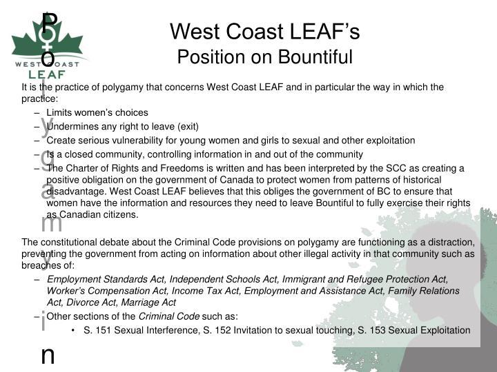 LEAF Position on Polygamy in Bountiful