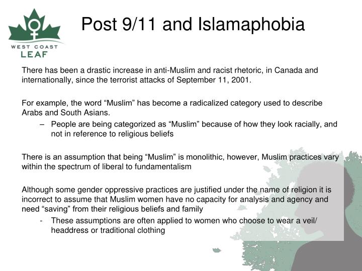 There has been a drastic increase in anti-Muslim and racist rhetoric, in Canada and internationally, since the terrorist attacks of September 11, 2001.