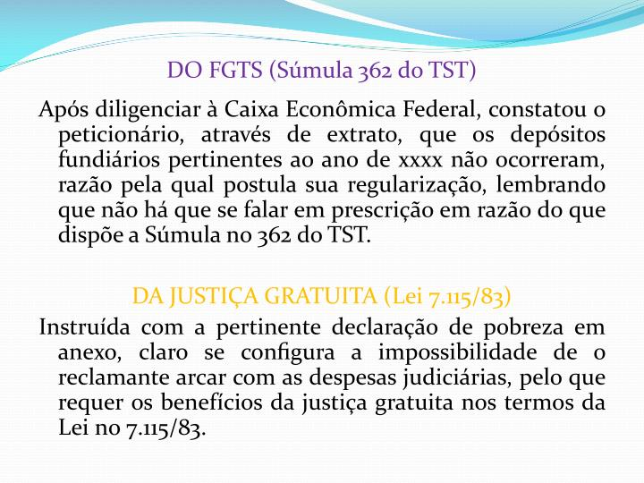 DO FGTS (Súmula 362 do TST)