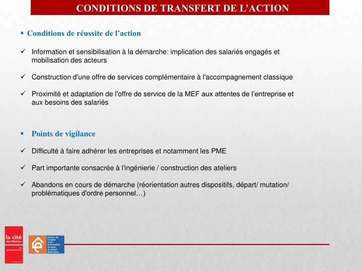 CONDITIONS DE TRANSFERT DE L'ACTION