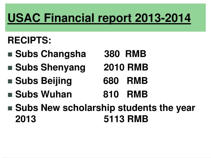 Usac financial report 2013 20141