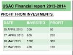 usac financial report 2013 201410