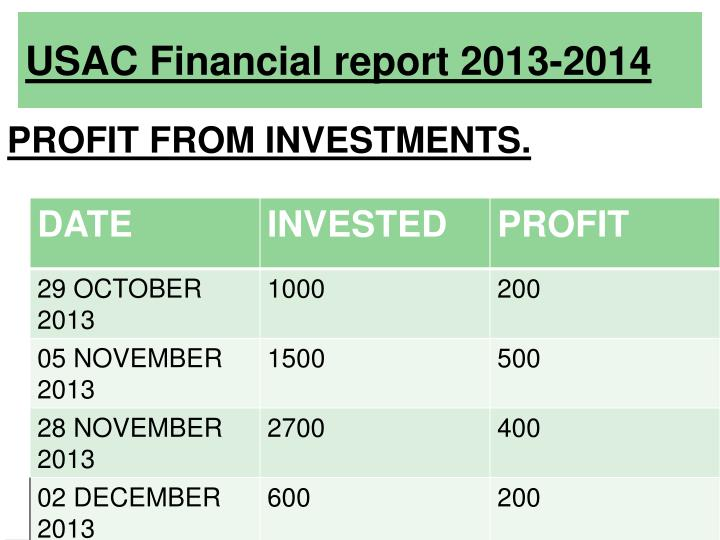 USAC Financial report 2013-2014
