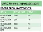 usac financial report 2013 201416