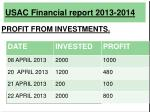usac financial report 2013 20149